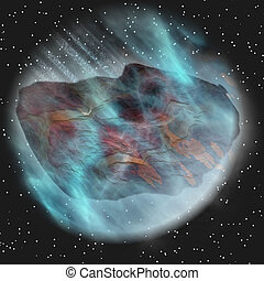 blue asteroid in space
