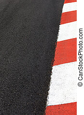 Motor race asphalt curb on Monaco Grand Prix street circuit...
