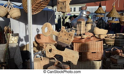 wooden wicker object fair - Various wooden and wicker...