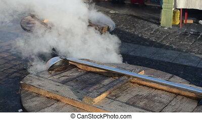 hot wine pot boil vapour