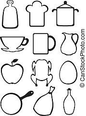 Set of kitchen contour image