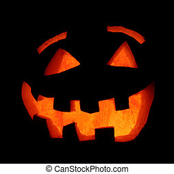 Smiling Halloween Pumpkin - A smiling carved Halloween...