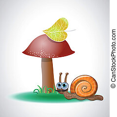 Funny snail near mushroom. Illustration 10 version