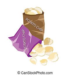 Open Bag of Chips on White Background - Snack Food, An...