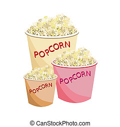 Fresh Popcorn in Three Size of Paper Bowl - Snack Food, An...