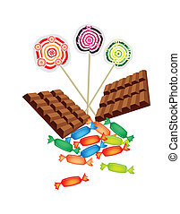 Chocolates, Lollipops and Hard Candy on White Background -...