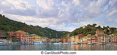 Portofino luxury landmark panorama. Village and yacht in...