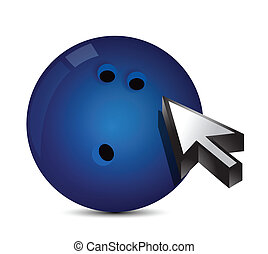 Bowling ball with cursor arrow - sport shopping concept...