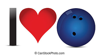 I love Bowling, Heart with Bowling Ball Inside illustration...