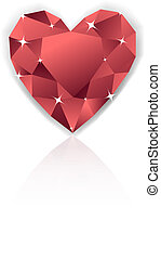 Shiny red heart diamond