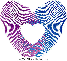 Finger print of man and woman in love