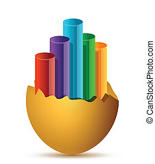 Colorful Business Growth graph broken egg
