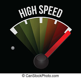 high speed speedometer illustration design over a white...