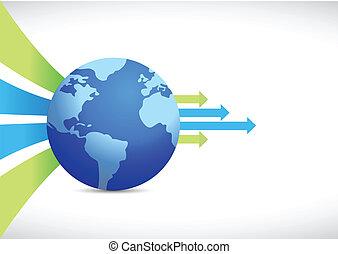 global business design, earth globe
