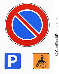 No parking road sign photo. Reserved for disabled drivers -...