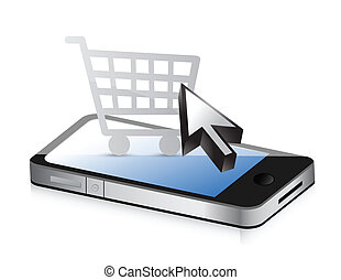 shopping using technology. Phone and online shop