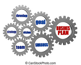 business plan and concept words in silver grey gearwheels -...