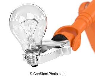 Robotic arm holding light bulb Image concept and part of a...