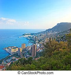 Monaco Montecarlo principality aerial view cityscape on...