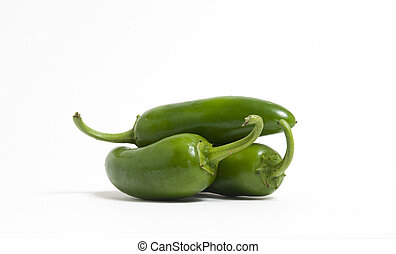 Three Jalapeno Peppers - Three hot jalapeno peppers on white...