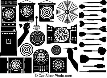 Set of different dartboards isolated on white