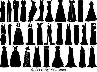 Set of dresses isolated on white