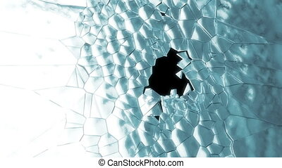 Shattered ice or glass with slow mo