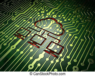 Cloud technology concept: Cloud Network on circuit board -...