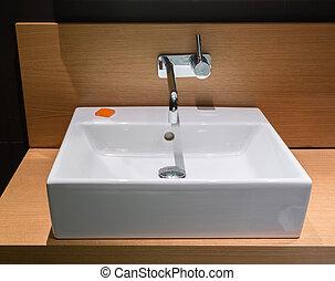 Modern wash bowl in bathroom