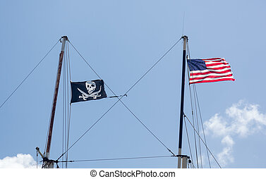 Flags of USA and pirates in St Thomas