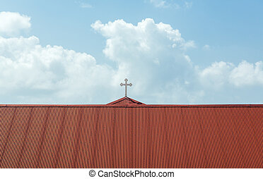 Frederick Lutheran church in Charlotte Amalie - Red roof of...