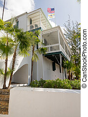 Old house in Charlotte Amalie St Thomas - Old white painted...