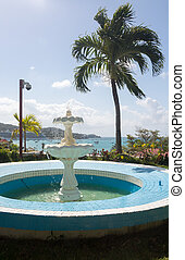 Blue fountain overlooks Charlotte Amalie - Blue tiled...