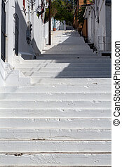 White painted steps Charlotte Amalie - Series of white...