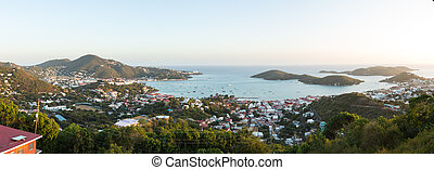 Sunset over Charlotte Amalie St Thomas - Sunset over the...