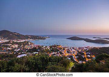 Sunset over Charlotte Amalie St Thomas - Sunset over the...