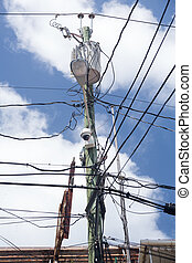 Jumble of wires on power pole - Complicated wiring forms...