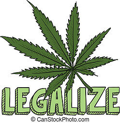 Legalize marijuana sketch - Doodle style legalize marijuana...