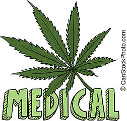 Medical marijuana sketch - Doodle style medical marijuana...