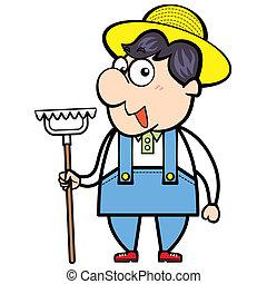 Cartoon Farmer with Rake - cartoon farmer with rake