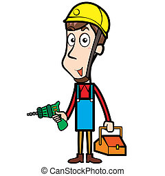 Cartoon Plumber with Electric Drill and Toolbox - Cartoon...