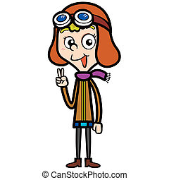 Cartoon Pilot - illustration of a cartoon pilot, vector