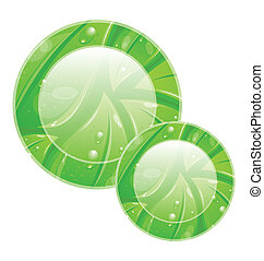 Eco friendly icon for web design, leaves texture