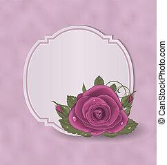 Vintage card with pink roses - Illustration vintage card...