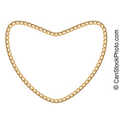 Jewelry golden chain of heart shape - Illustration of...