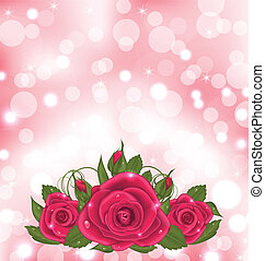 Luxury background with bouquet of pink roses - Illustration...
