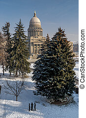 Vertical shot of the Idaho state capital in winter - Winter...