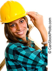 Sexy construction lady - Attractive young sexy construction...
