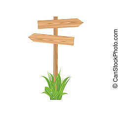 Wooden signboard for guidepost, grass - Illustration wooden...