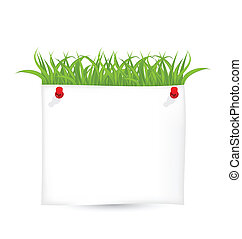 Paper sheet with green grass isolated on white background
